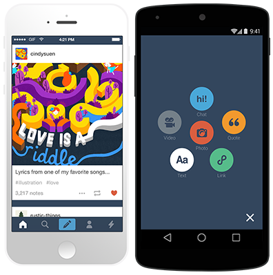 See the rest of this Tumblr Android app Google play